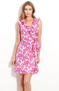 kate spade new york 'aubrey' ruffled silk wrap dress