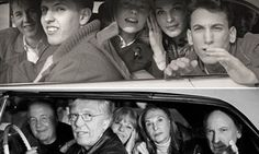 Beatles fans then and now.  Ringo Starr took the top photo from car window in 1964. The fans have been located and recently posed for the bottom photo.