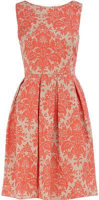 Coral damask dress.