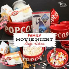 Family gift ideas of putting together a movie night in a box or basket. Perfect family fun gift idea! #Gifts #GiftIdeas #FamilyFun