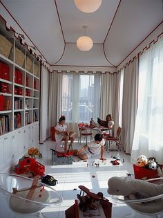 fun white and red playroom for kids. Love the ceiling details. #playroom #kids
