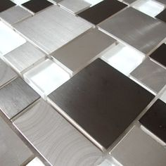 Modern Cobble Stainless Steel With White Glass Tile