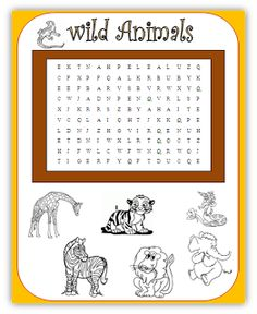 free primary animal worksheets | Wild Animals wordsearch - Quick ...