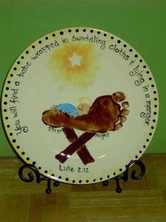 Footprint Art Keepsake - Manger footprint!  Too cute!!!
