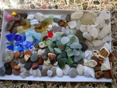 Collection of beach sea glass from Greece