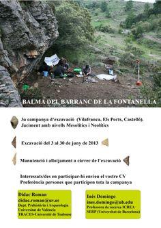Tercera campaña de excavaciones en la balma del Barranc de la Fontanella (Vilafranca, Els Ports, Castelló), del 3 al 30 de junio de 2013