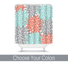 Turquoise And Gray Shower Curtain