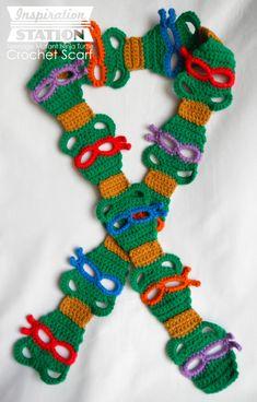 Teenage ninja mutant turtle scarf LOVE!!!! Free chart pattern