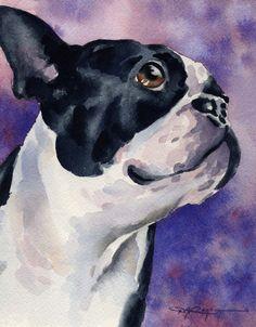 BOSTON TERRIER Dog Art Print Signed by Artist DJ by k9artgallery