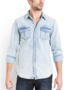 Light-washed mid-weight denim gives this shirt the throwback look everyone's after. Its super-soft finish is detailed with pearlized snap buttons for authentic retro appeal. Wear it on its own or layered over a graphic tee. Denim shirt. Collar. Long sleeves with single barrel cuffs. Regular fit. Two flap patch pockets with snap closures. Shirttail hem. Interior leather logo tag. Front snap-button closures 100% Cotton Machine wash Men > Shirts > Denim Shirts