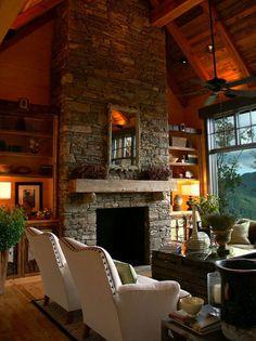 mountain, dreams, dream living rooms, dream homes, log cabins, dream hous, stones, mantl, stone fireplaces