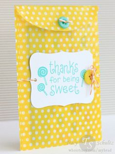 Sweet Bag by Tracy Schultz- a fun little treat bag from Doodlebug, stamps from Lawn Fawn.