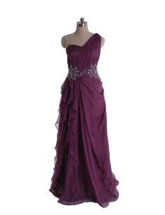 Elegant one shoulder chiffon gown-in blush