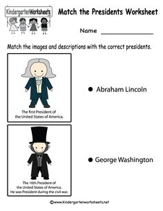 Kindergarten Match the Presidents Worksheet Printable