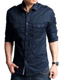 Men Military Style Slim Fitted Thick Flap Pockets Trim Shirt