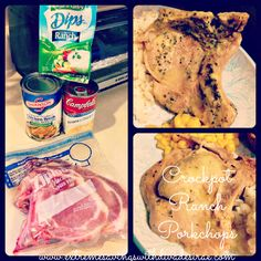 Crockpot Ranch Porkchops –  *4-6 porkchops thawed or frozen  * Ranch mix   *1 can of cream of chicken   *1 can of chicken broth     *DIRECTIONS*   Turn your crockpot on low   Add your cans,mix & stir together   Add the porkchops   Put the lid on and cook for about 4-6hrs   Add on top of rice & enjoy