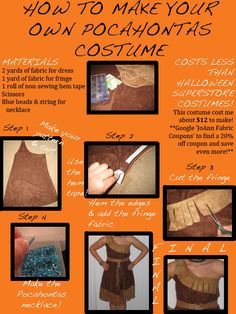 How To Make Your Own Pocahontas Costume. Guess who I am going to be next year? :3