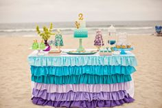DIY Printable Food Labels/ Tents - Mermaid Party. $7.00, via Etsy. dessert tables, ombre, mermaid parti, ruffl, birthday parties, ombr mermaid, mermaid birthday, parti idea, table skirts
