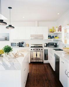 interior design, wood, floors, kitchen photos, marbl countertop, white cabinets, open shelving, island, white kitchens