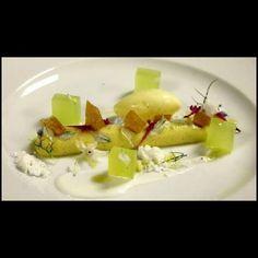 Olive oil cremeux, compressed honey dew, greek yogurt, olive oil ice cream, nougatine, yogurt powder-Antonio Bachour