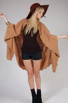 70s Caramel Hand Knit Cape