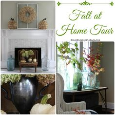Fall at Home Tour - so many creative fall decorating ideas! Love the wreath and driftwood pumpkins from @HomeGoods eclecticallyvintage.com #HappyByDesign #HomeGoodsHappy #sponsored