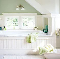 wall colors, tubs, bathtub, bathrooms, paint colors, cottages, master baths, cottage style, attic bathroom