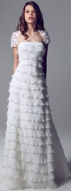 Blumarine Sposa - 2013/2014 - Tiered Wedding Dress with Short Sleeve Lace Shrug
