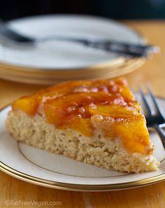 Peach Upside-Down Cake -- #vegan and #lowfat #recipe