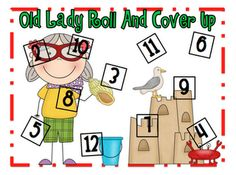 cover up, roll, shells, shell math, laugh everyday, literaci pack, game, math idea, old ladies