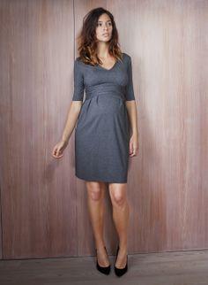 Serafina Maternity Dress in Grey | Isabella Oliver | Maternity Workwear