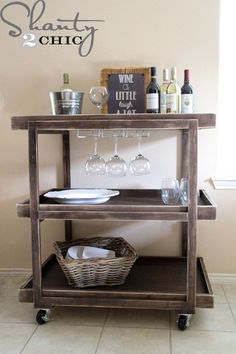 Love this DIY Bar Cart!  Perfect for holiday entertaining!