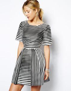 ASOS Structured Skater Dress In Stripe