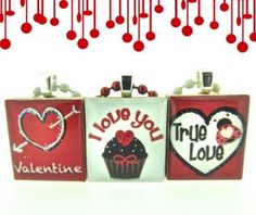 """Cute and cheerful Valentines scrabble tile pendants from our new set """"Love Bug"""" - By Mango and Lime Design"""