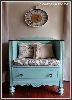 Antique Dresser Turned Bench in Covington Blue BM. Lots of pics! Painted Furniture / Makeover / Redo