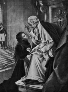 St. Therese of Lisieux, the Little Flower,  at the feet of Pope Leo XIII.