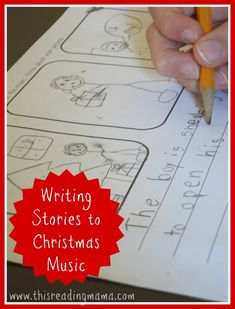 Creating and Writing Stories to Instrumental Christmas Music ~ free printable included | This Reading Mama