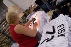 Majestic employees giving authentic MLB jerseys their identity. All of Majestic's on-field MLB jerseys are produced in the USA - in Easton, PA.