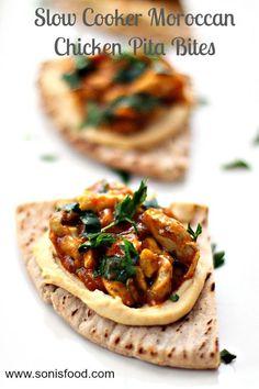 Slow Cooker Moroccan Chicken Pita Bites! #moroccanfood #chicken #pita #appetizer