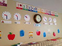 Preschool schedule on clocks