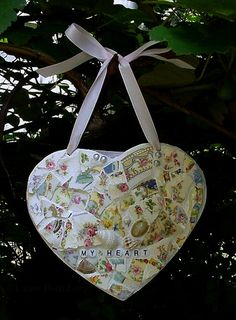 SaintValentin de marin de mon cœur inspiré par dishfunctionldesigns, $45.00 hang heart, mosaic inspir, sailors