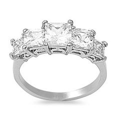 8mm 3ctw LARGE Stainless Steel PRINCESS Cut Square Diamond CZ Bridal Engagement Wedding Band Ring 5-10: Jewelry: Amazon.com
