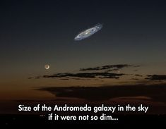Size of the Andromeda galaxy in the sky if it were not so dim... The Andromeda Galaxy is actually going to collide with the Milky Way Galaxy in 4 billion years.