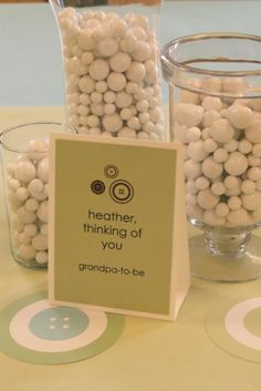 boy baby showers, baby shower decorations, baby shower ideas, messag, baby shower centerpieces, button shower, table centerpieces, babi shower, button coaster