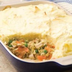 Nothing beats the cold weather like a hot serving of Shepherd's Pie. The mashed potato-covered shepherd's pie was originally created to use up the leftovers from a festive roast. This version blends peas, leeks and carrots with diced turkey, all in a creamy herb sauce. The dish is a perfect way to create a second meal with the holiday turkey but if you like, use leftover roast chicken, duck or goose. @EatingWell