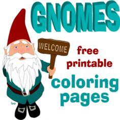 Gnome Coloring Pages and printable line drawings to use as craft templates