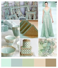 Mint and gold wedding.
