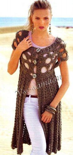 Вязание: стильный длинный жакет sweater
