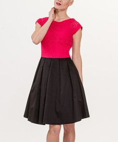 Rose Red & Black Eyelet Color Block Cap-Sleeve Dress by Amelia #zulily #zulilyfinds