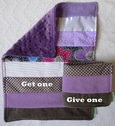 Baby Girl Sensory Security Blanket Lovey - pretty in purple - Get One, Give One to babies in Kenya, $30.00